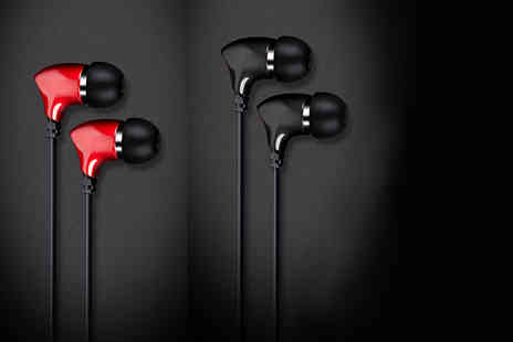 eOutlet - Pair or Hednoise in ear earphones with in built mic choose from black or red - Save 78%
