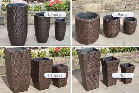 PKL Leisure - Set of three hand woven rattan planters choose from four designs - Save 70%