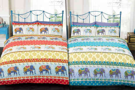 Linens R Us - Single, Double or King size elephant print duvet set - Save 66%