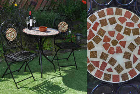 Medicarn - Mosaic table and chairs set choose from two designs - Save 66%