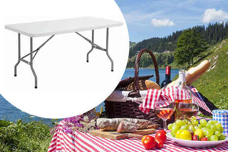 Product Mania - Six foot outdoor folding table choose red or white - Save 69%