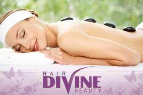 Divine Hair and Beauty - Hot Stone Massage and Prescriptive Facial for £32 - Save 72%