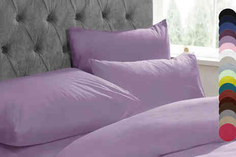 Adam Linens - Duvet Cover Set Choose from 17 Colours Available in 3 Sizes - Save 67%