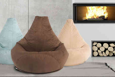 UK Beanbags - Highback faux suede beanbag choose from three colours - Save 70%