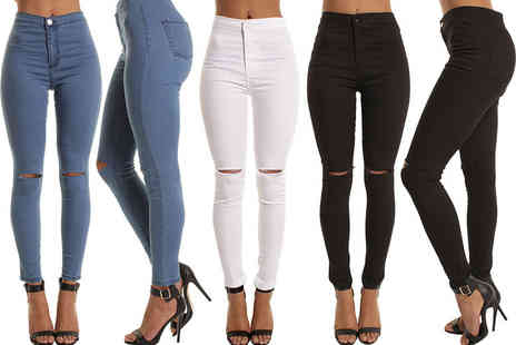 Fashion Snip - Pair of high waisted ripped knee skinny jeans choose from black, white and blue - Save 54%