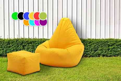 UK Beanbags - Highback beanbag with matching footstool choose from 10 bright colours - Save 72%