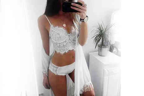 The Wholesale Group - White lace bralette and pants set choose your size - Save 76%