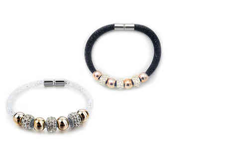 Bijou Amour - Magnetic mesh bracelet choose from black or white - Save 85%