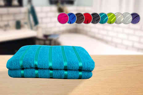 JMD Online - Twin pack of 100% combed cotton bath towels choose from 10 colours - Save 44%