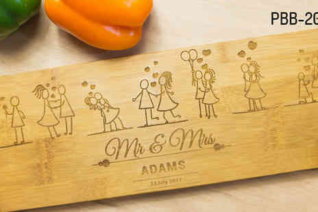 Pretty Personal Gifts - Personalised Bamboo Cutting or Serving Boards in 7 Styles - Save 56%
