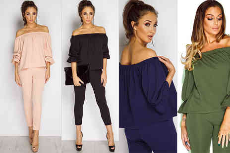 The Fashion City - Bardot off the shoulder top and leggings set - Save 60%