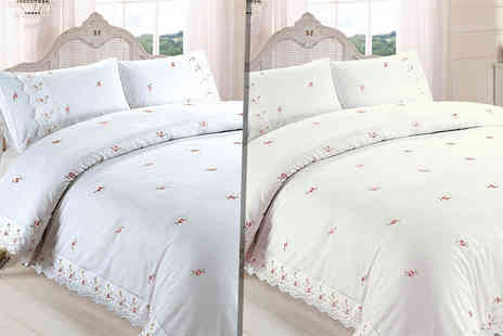 Linens R Us - Single, double, king or super king size Sophie embroidered duvet cover set - Save 61%