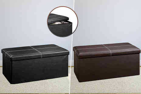 Product Mania - Large ottoman faux leather folding storage seat - Save 75%