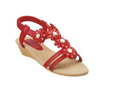 London Shoe Co - Pair of ladies jewelled sandals choose black, white, beige, pink and red - Save 42%