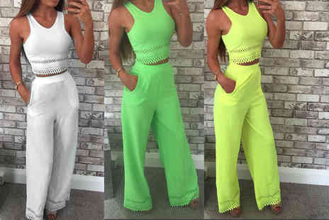 The Fashion City - White or neon co ord crop top and trousers set choose from three colours - Save 70%