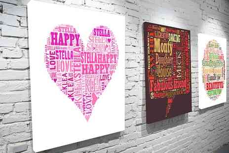 You Frame - Personalised Text Art Canvas in Choice of Size - Save 75%