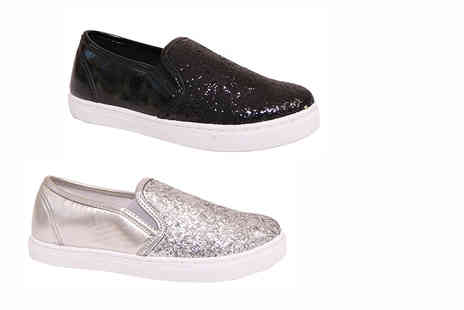 MY UL - Pair of patent glitter plimsoles choose from two colours - Save 65%