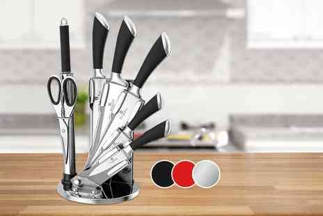 Meadow Vale - Berlinger Haus eight piece knife set with stand choose from red, black and silver - Save 74%