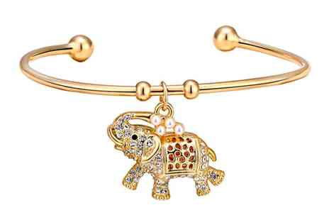 Groupon Goods Global GmbH - 8Ct Yellow Gold Plated Elephant Cuff Bangle with Crystals from Swarovski - Save 0%