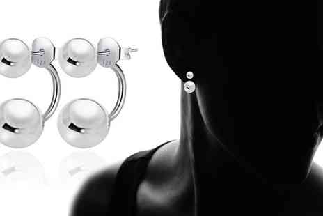 Groupon Goods Global GmbH - Sterling Silver High Polish Ball Front to Back Earrings - Save 86%