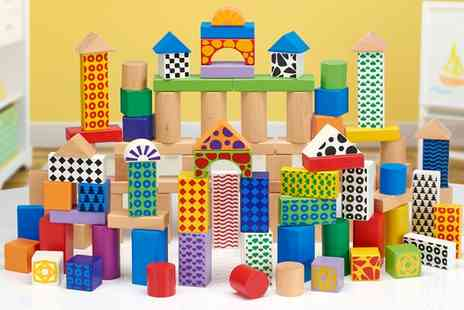 Groupon Goods Global GmbH - 100 Piece Wooden Block Set Colours and Patterns - Save 65%