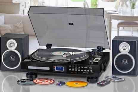 Groupon Goods Global GmbH - Zennox Professional Turntable and Recordable Music Centre in Silver or Black With Free Delivery - Save 60%