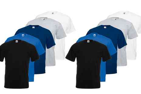 Groupon Goods Global GmbH - 10 Pack of Fruit of the Loom Cotton T Shirts in Choice of Colour - Save 0%