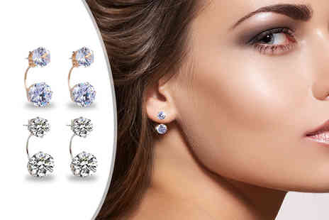 Fakurma - Two pairs of double crystal stud earrings - Save 91%