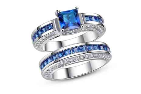 Groupon Goods Global GmbH - 2.5Ct Blue Sapphire Princess Cut 10Ct White Gold Ring - Save 0%