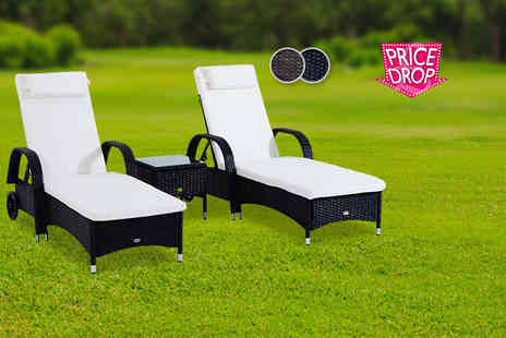 Mhstar Uk Ltd - Three piece rattan furniture set including two sun loungers and a table choose black or brown - Save 58%