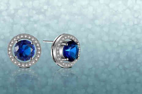 Your Ideal Gift - Pair of blue sapphire earrings - Save 94%