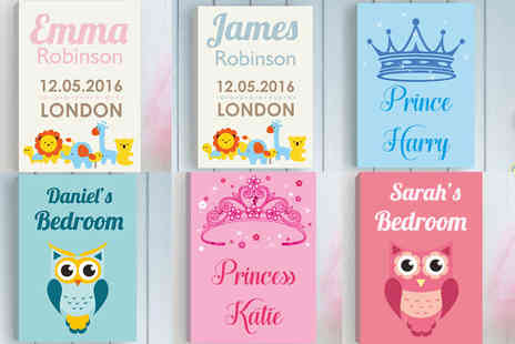 Deco Matters - Personalised A4 childrens canvas - Save 94%