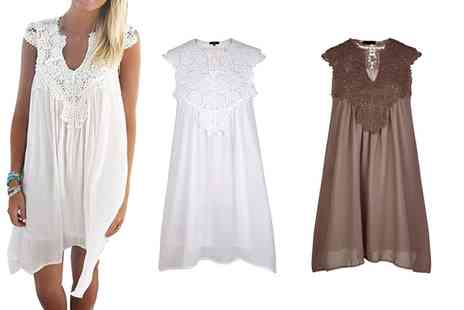 Groupon Goods Global GmbH - Crochet Insert Summer Dress in Choice of Colour and Size - Save 0%