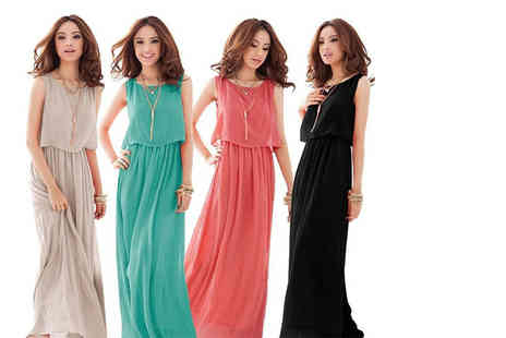 EF Mall - Bohemian chiffon maxi dress choose from black, watermelon red, green and grey - Save 64%