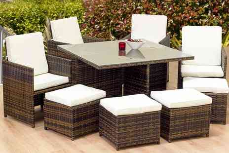 Oseasons - Eight piece OSeasons cube rattan garden furniture set and table - Save 65%