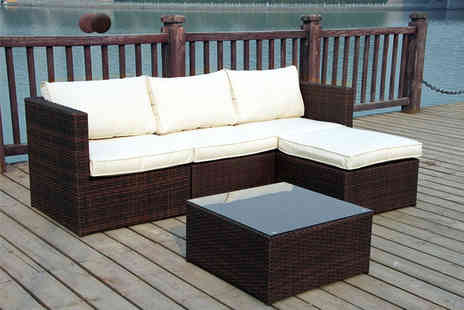 Furniture Instore - Four seater rattan corner sofa set choose black or brown - Save 0%