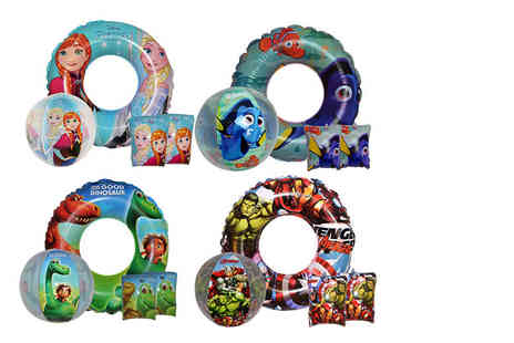 Linen Ideas - Four piece Disney themed inflatable beach bundle for kids including two armbands, one ring and one beach ball - Save 65%