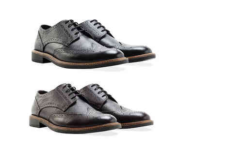 Shoeprimo - Pair of mens genuine leather brogues in a choice of two colours - Save 79%