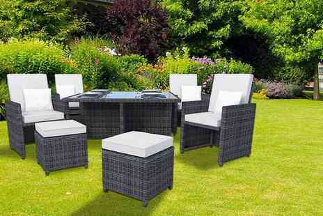 Kennings Building Supplies - Ledbury nine piece rattan cube set in black or brown with white or beige covers - Save 69%
