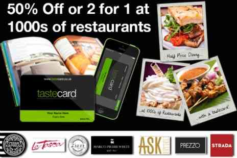 Tastecard - Dine Out for Half Price for One Year with Tastecard Membership - Save 51%