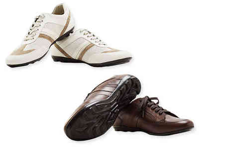 Shoeprimo - Pair of mens genuine leather sports shoes choose brown or cream - Save 86%
