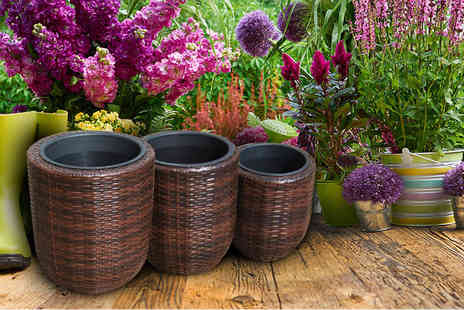 PKL Leisure - Choice of two hand woven rattan flowerpot sets of three choose from black or brown - Save 67%