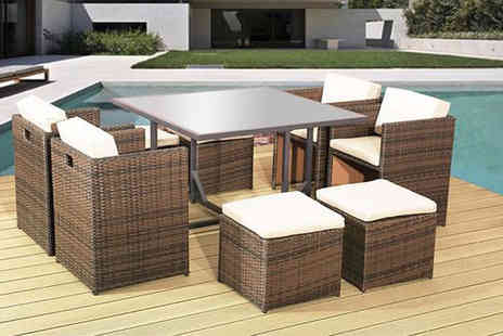 Rattan Trends - Nine piece rattan garden dining set choose black or brown - Save 60%