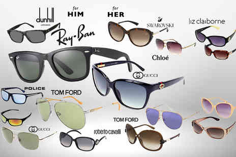 Brand Logic - Pair of mystery designer sunglasses for him or her Gucci, Tom Ford, Ray Ban, Chloe, Michael Kors, Liz Claiborne, Roberto Cavalli, Glare and more - Save 0%