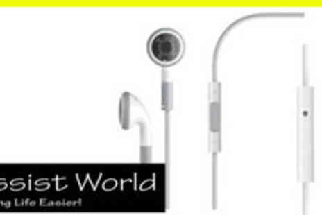 Assist Products - Pair of  3 in 1 iPod and iPhone Compatible Earphones With Remote and Mic - Save 60%