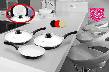 direct2publik - Five piece non stick ceramic-coated frying pan set choose black, cream or red  - Save 88%