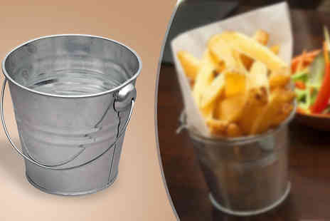 iThink Gadgets - Pack of Four Galvanised Steel Serving Buckets - Save 50%