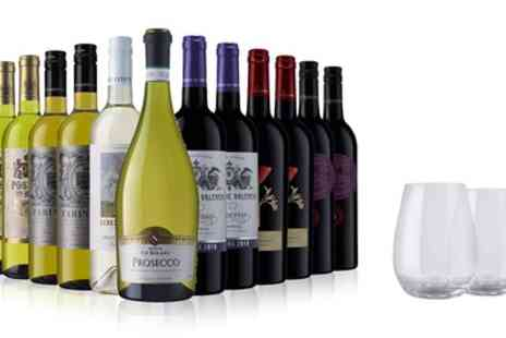 Laithwaite's Wine - 12 Bottles of Red, White or Mixed Wine with Prosecco Plus Two Glasses - Save 65%