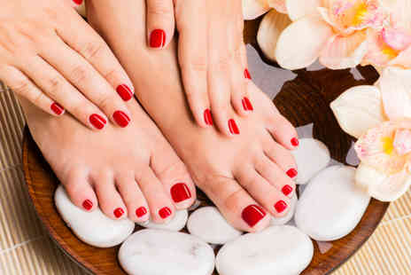 Indulge Beauty Studio - Shellac manicure or shellac manicure and pedicure - Save 63%