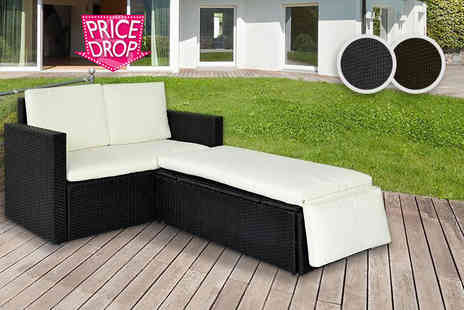 Evre - Two person rattan love seat choose from black and brown - Save 74%